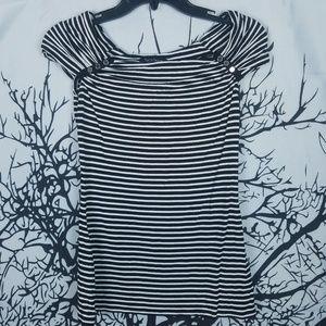 WHBM | Black & White Striped Blouse Cap Sleeve  XS